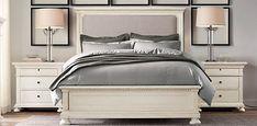 St. James Upholstered Bed Collection Antiqued White   Restoration Hardware