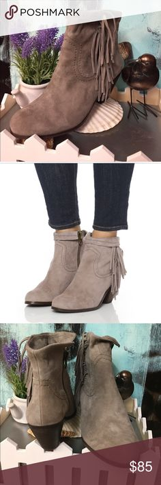 "Sam Edelman Suede Booties Playful fringe trims gray suede booties which can be folded over for a different look. Genuine kid skin leather and side zip complements this must-have pair. 2.25"" wooden block heel. [RE.A27]. 🚫Trades. Sold out st some sites. No original box. Sam Edelman Shoes Ankle Boots & Booties"
