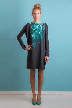 Pepermint forest  Oversize dress / Cotton dress / by ZIBtextile