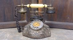 A+1930's+Brass+and+Nickel+Plate+Italian+Telephone.+by+Lallibhai,+£190.00