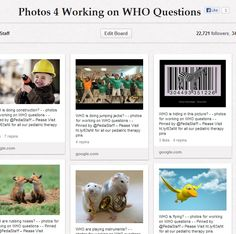 """Entire Pinboard of photos for working on """"W"""" Questions.  Also great for Expressive, Descriptive Language and Storytelling and Conversation practice"""