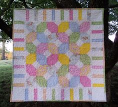 Baby Quilt Hugs n Kisses x's and o's cotton candy pastels stripes unisex naptime blanket Free ship inside USA. $75.00, via Etsy.
