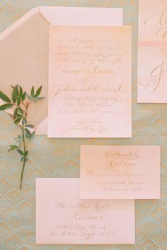 blush colored invitations by http://www.thelefthandedcalligrapher.com    Photography by carolinejoy.com    Design + Styling by mayhardesign.com     Read more - http://www.stylemepretty.com/2013/06/24/hill-country-watercolor-inspired-photo-shoot-from-mayhar-design-caroline-joy-photography-sprout/