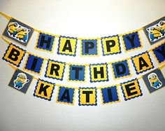 NEW STYLE 2 IN 1 Minions Birthday Banner by LisasPartyShoppe