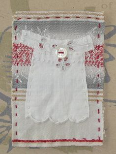 Stitched and embroidered mini textile art, My Daughter's Dress