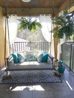 35 Rethink Your Outdoor Space by Channeling This Dreamy Porch Swing Outdoor Living Outdoor porch swings are a classic accent on the porch of a . House With Porch, House Roof, Pergola Designs, Patio Design, Outdoor Rooms, Outdoor Curtains For Patio, Outdoor Living, Outdoor Patios, Outdoor Kitchens