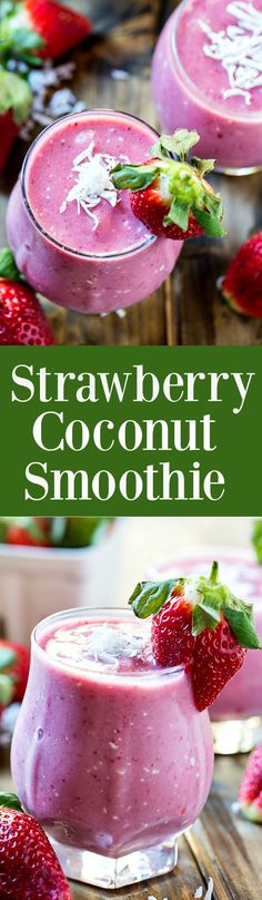 Healthy Strawberry Coconut Smoothie with no added sugar (dairy free).
