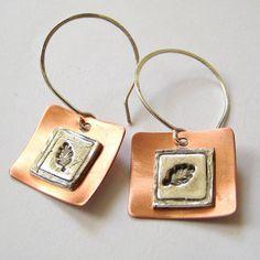 Metal Clay  Tiny Leaf Eco Friendly Earrings in Fine Silver by littlebrownbird