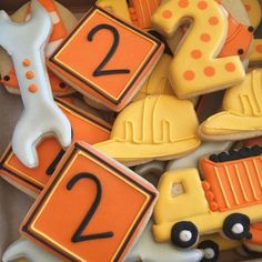 Fiesta Decorated Sugar dozen by AnnPotterBaking on Etsy Construction Cookies, Construction For Kids, Construction Birthday Parties, Construction Theme, 4th Birthday Parties, 1st Birthdays, Birthday Ideas, Birthday Banners, Birthday Invitations