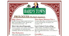 The Bard's Town, Louisville, Kentucky The Bard's Town in Louisville has Much Ado About Empanadas and Two Noble Crab Cakes are some of the dozens of playwright puns on the menu.