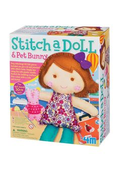 Great as a gift give this kit to encourage young artists. With patterned cloth 4 spools of embroidery floss 2 plastic needles stuffing lace and detailed instructions all felt pieces included are pre-cut and punched with stitch holes. Simply sew the pieces together using the safe plastic needle. This kit is recommended for ages 8 and up.  Stitch A Doll by 4M. Home & Gifts - Gifts - Gifts by Occasion - Baby & Kids Oregon