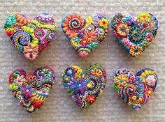 Broche corazón de FreeForm bordado broche 148 por Lucismiles