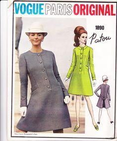 1960s PATOU Vogue Paris Original 1890 Vintage Sewing Pattern A Line Coatdress Pattern Size 16 Bust 38 inches UNCUT Factory Folded
