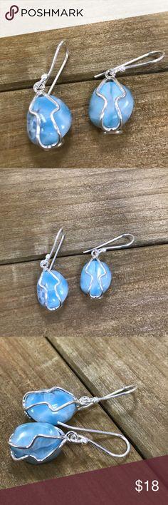 Earrings Silver wire earrings and larimar 4.8 grs Jewelry Earrings