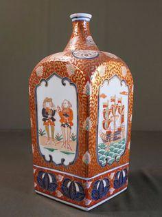 Imari Kinrade Nanban Koumou Dutch Black Ships VOC Bottle 11.5''H Fuku Mark🚶🏾♀️🚶🏼🏃🏽♀️🚶🏾♀️More Pins Like This At FOSTERGINGER @ Pinterest 🏃🏾💃👭👯♂️
