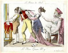 Plate 9: three women and a man take off their costumes after the ball.  1801-2?  Hand-coloured etching