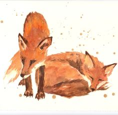 Fox and Mate watercolour art print, fox, fox painting, fox lover gift, art under 20. $18.00, by EastWitching (Alison Fennell of Pontypridd, Wales)