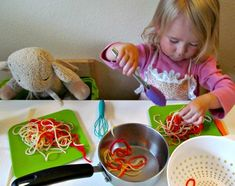 Pretend play - yarn spaghetti