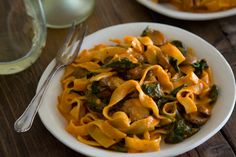 An easy weeknight meal of Red Pepper Pasta with Mushrooms and Spinach