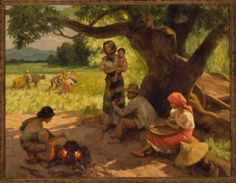 'Farmers working and resting,' by Fernando Amorsolo at the Asian Art Museum's Celebrating Filipino American History Month. Arte Filipino, Philippine Art, Asian Art Museum, Abstract Painters, Naive Art, Amazing Adventures, Beauty Art, New Artists, National Museum