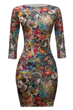 Multi Color Graphic Print Bodycon Dress with 3/4 Sleeves, Dress, bodycon dress by MYOFashion
