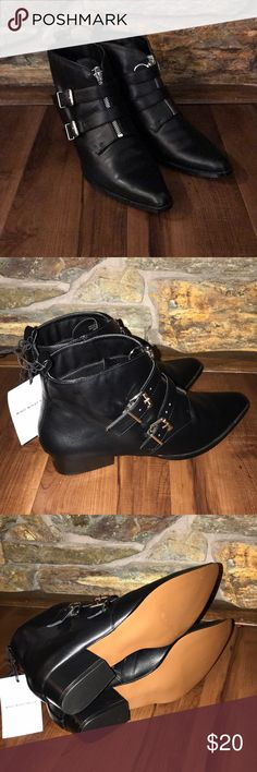 NWT Black Booties Who What Wear brand new black booties with zipper and two buckles. Shoes Ankle Boots & Booties