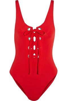 Mara Hoffman - Lace-up Swimsuit - Red - x small
