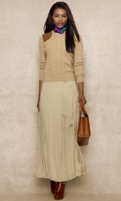Long Pleated Chiffon Skirt - Blue Label Long Skirts - RalphLauren.com