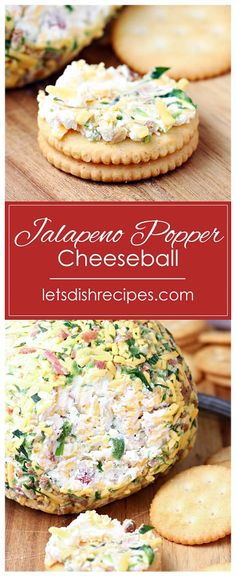 Jalapeno Popper Cheeseball Recipe -- Cream cheese is combined with fresh jalapenos, crispy bacon, cheddar cheese and green onions in this crowd-pleasing party appetizer. #cheese #cheeseball #appetizers #recipes Recipes Appetizers And Snacks, Healthy Dessert Recipes, Yummy Appetizers, Appetizers For Party, Snack Recipes, Party Dips, Dip Recipes, Cooking Recipes, Easy Holiday Recipes