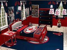 Boston red sox bostonredsox on pinterest for Boston red sox bedroom ideas