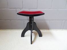 Italian Piano Stool Made Of Solid Wood And Black Piano Lacquer With Wine Red Upholstery, Swivel Stoo Black Piano, Piano Stool, Wooden Stools, Made Of Wood, Dark Red, Side Chairs, Seat Cushions, Home Furniture, Solid Wood