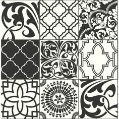 Bring a bold, Moroccan-inspired feeling to your interior space with this black and white Graphic Tile peel and stick wallpaper from Nextwall. With a mix of unique geometric tile shapes this pattern is nothing short of dramatic and elegant. Peelable Wallpaper, Paintable Wallpaper, Bathroom Wallpaper, Self Adhesive Wallpaper, Wallpaper Roll, Peel And Stick Wallpaper, Print Wallpaper, Peel And Stick Tile, Stick On Tiles