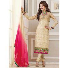 Cream Georgette #Designer #Churidar #SalwarKameez With Dupatta #Dress