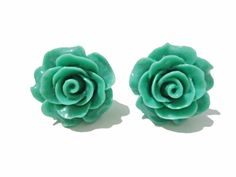 Green by NeverLoseHopeStandUp on Etsy Never Lose Hope, Rose Earrings, Thank You So Much, Spring 2015, Happy Shopping, I Shop, Green, Silver, Etsy