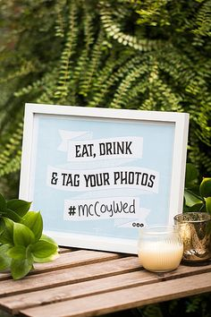 With the advent of smartphones, wedding guests have become invaluable shutterbugs, but they can't share the priceless candids that they capture with you if they don't know your hashtag offhand. Display visible signage like this Evermine prompt in multiple locations.Download the free printable here ►