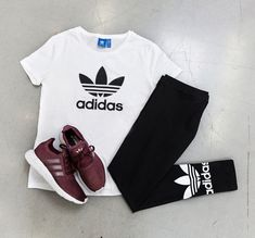 SHOP THIS LOOK #Top - #Adidas Trefoil Tee #Bottom - Adidas Trefoil #Leggings #Shoes - Adidas Swift Run Look Top, Top Adidas, Athletic Gear, Women's Fashion, Fashion Trends, Leggings, Clothes, Shoes, Fashion Women