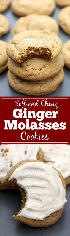 Soft and Chewy Ginger Molasses Cookies are one of my FAVORITE holiday cookies! These are super soft and chewy and I often make them with cinnamon cream cheese frosting on top. BEST COOKIES EVER! Yummy Treats, Delicious Desserts, Dessert Recipes, Yummy Food, Sweet Treats, Cookie Recipes From Scratch, Recipe From Scratch, Tea Cakes, Shortbread
