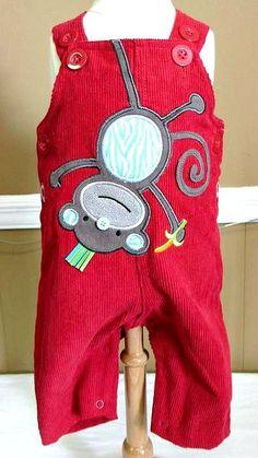 Mud Pie Red Corduroy Monkey Overall www.specialtykidswear.com