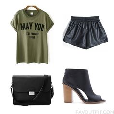 Clothing Collection With T-Shirt Elastic Waist Shorts Forever 21 Ankle Booties And Leather Messenger Bag From February 2016 #outfit #look
