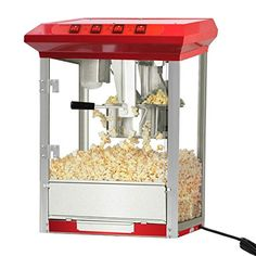 Popcorn Popper Maker Machine 8oz Durable Deluxe Red Tabletop Theater Stainless Steel Kettle TC00801A