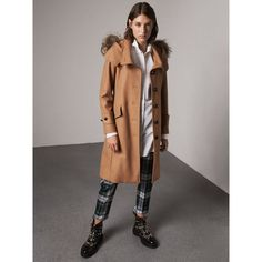 Burberry Hooded Wool Blend Coat with Detachable Fur Trim (101.655 RUB) ❤ liked on Polyvore featuring outerwear, coats, burberry, hooded coat, funnel neck coat, shiny coat and button coat