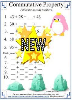 math worksheet : commutative property of addition worksheet 3  math  pinterest  : Commutative Property Addition Worksheets