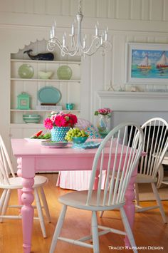 Pink Dining Room, Turquoise, Sarasota Interior Design, Interior Design, Sarasota FL, Beach Style, Cottage Style,
