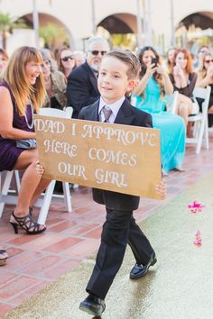 my heart melted when the groom's son walked down the isle with this sign… Wedding Ceremony, Our Wedding, Dream Wedding, Wedding Shoot, Wedding Things, Fall Wedding, Beach Wedding Photos, Wedding Pictures, Here Comes The Bride