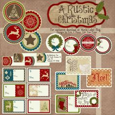 This well designed set of Rustic Christmas Printable labels are designed by @Erin Rippy - Ink Tree Press These Christmas labels are in editable fillable PDF ready to print templates. Templates are free to download #labels #christmas