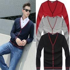 $17.89 / Men V-Neck Cardigan Sweater Jumper Tops Knitwear via martEnvy. Click on the image to see more! / FREE SHIPPING