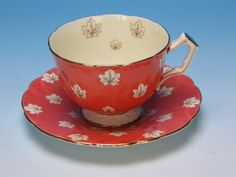Aynsley Bone China - Maple Leaf Design - Cup and Saucer