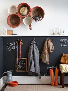 Hallway Mud Room: Behind hooks, shelves, etc could paint with chalkboard paint for reminders, etc.