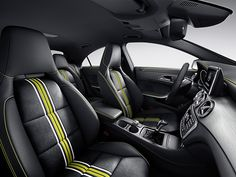 Mercedes CLA Edition 1 Interior with Black DINAMICA MB-Tex with Green Piping