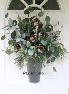 Christmas Wreath-Winter Eucalyptus Basket-Farmhouse Christmas Decor-Galvanized Christmas Arrangement-Door Decoration-Modern Wreath by ReginasGarden on Etsy https://www.etsy.com/listing/555735770/christmas-wreath-winter-eucalyptus